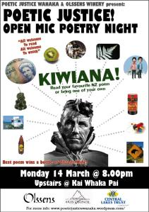 Poetic Justice Open Mic Night, Monday 14 March, Wanaka -- KIWIANA!